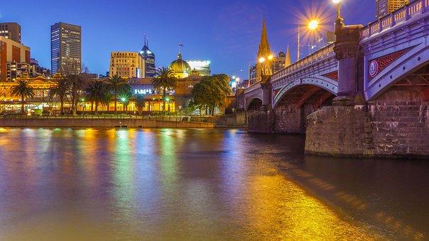 Melbourne, Night Shot, Station, City, Cityscape, Lights