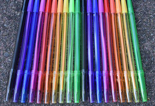 Pen, Writing Implement, Leave, Office, Colorful, Color