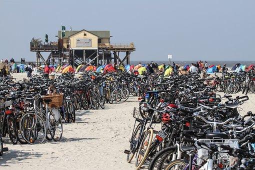 Beach, Bicycles, Sand Beach, St Peter, Ording, Coast