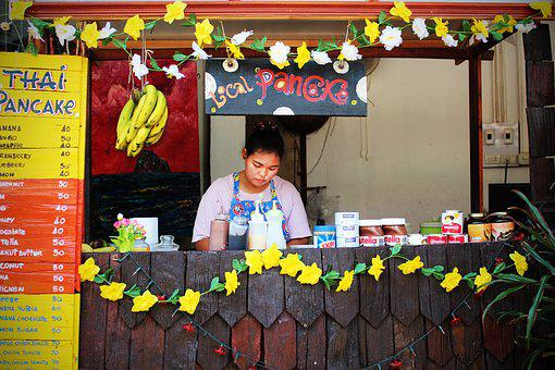 Pancake, Sales Stand, Eat, Food, Shop Assistant, Sell
