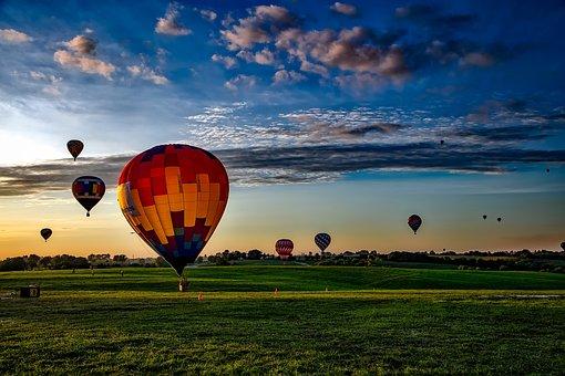 Hot Air Balloons, Sky, Clouds, Sunrise, Takeoff, Iowa