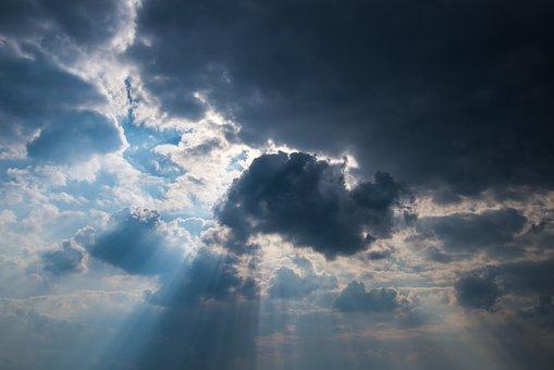 Sky, Clouds, Sun, Rays, Weather, Blue, Dark