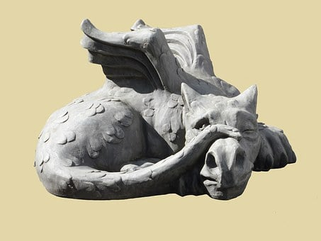 Sculpture, Dragon, Lindwurm, Stone, Horticulture
