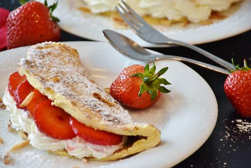 Strawberries, Strawberry Cake, Omelette, Egg Omelette