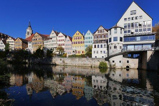 Tübingen, Neckar, Old Town, Mirroring, University City
