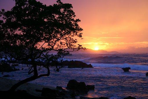 Sunset, Puerto, Rico, Ocean, Rocks, Landscape, Water