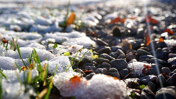 Snow, Gravel, Stones, Winter, Garden, Cold, Country