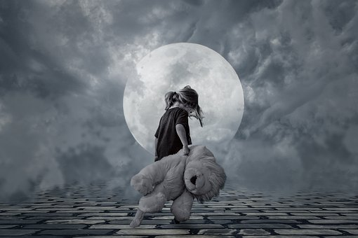 Good Night, Girl, Small Child, Teddy Bear, On Foot