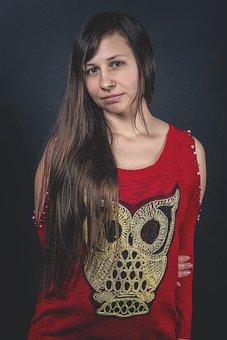Girl, Owl, Sweater, Fashion, Long Hair