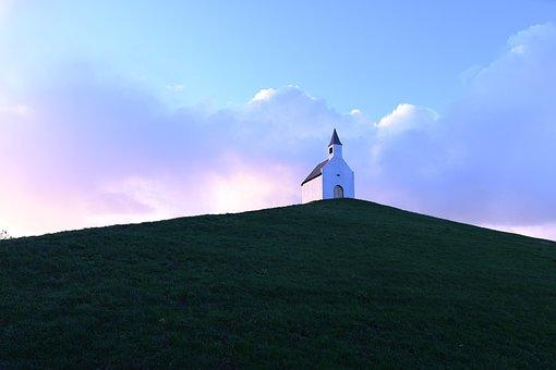 Light, Sunrise, Little Church, Small Chapel, Hill