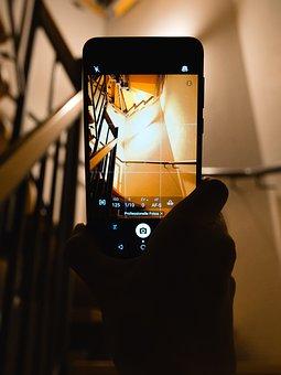Phone, Hand, Holding, Architecture, Interior, Stairs