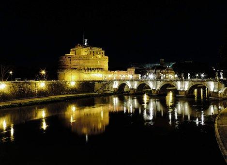 Rome, Lazio, Italy, Bridge, Ponte Sant'angelo, Castle