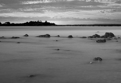 Water Silk, Landscape, Sea, Beach, Black And White