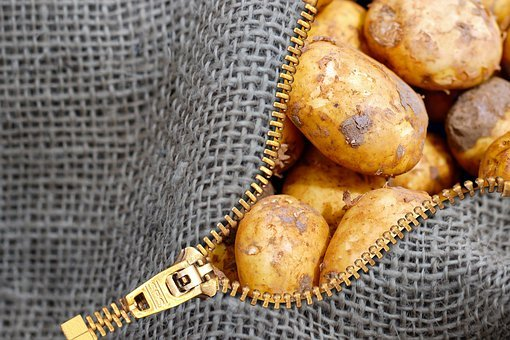 Potatoes, Linen Bag, Bag, Zip, Food, Agriculture