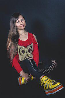 Girl, Leggings, Red Sweater, Natural Hair, Portrait