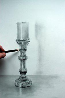 Drawing, Pencil, Art, Candle, Candlestick, Graphite