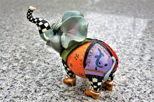 The Figurine, Elephant, Porcelain, Ears, Hand-painted