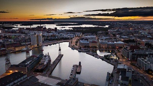 Helsinki, Jätkäsaari, Port, Evening, Sunset