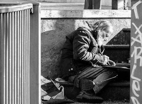 Rome, Lazio, Italy, Poverty, Man, Portrait, Sadness