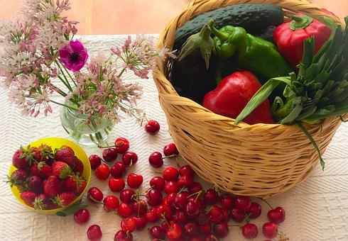 Cherries, Fruit, Vegetables, Basket, Power, Cherry, Red