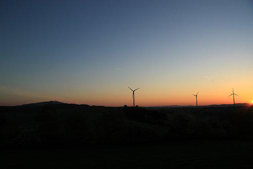 Pinwheel, Sunset, Sky, Wind Energy, Energy, Wind Power
