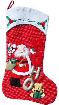 Christmas, Stocking, Red, Gifts, Cut Out, Isolated