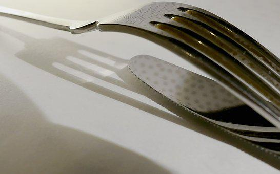 Cutlery, Knife, Fork, Table Cover, Gloss, Tine, Metal