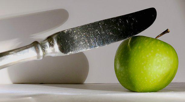 Apple, Green, Cutlery, Knife, Fork, Table Cover, Gloss