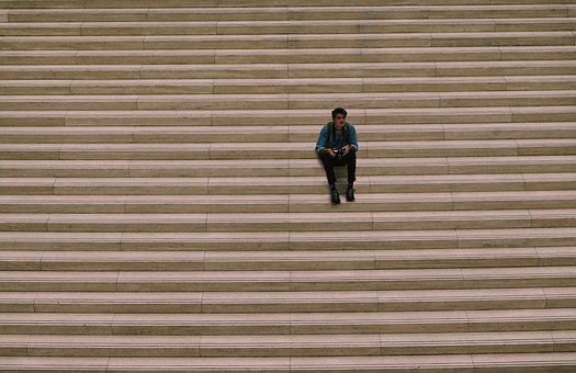 Stairs, Person, Sit, Abstract, Architecture, Building