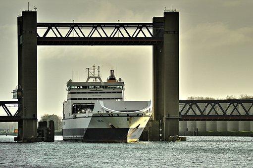 Calandbrug, Bore Sea, Bridge, Autoboot, Caland Canal
