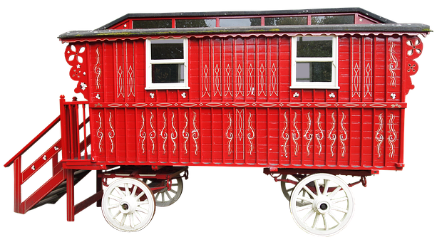 Dare, Caravan, Stairs, Car Red, Bauwagen, Hisorisch