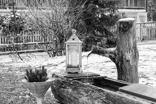 Fountain, Candle, Lamp, Christmas, Light, Mood, Garden