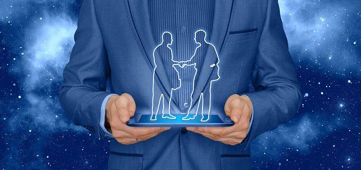 Shaking Hands, Handshake, Businessman, Tablet, Monitor