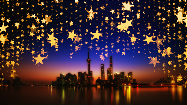 Shanghai, Star, Night, Mirroring, Christmas, Curtain