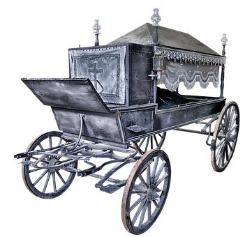 Hearse, Old, Middle Ages, Black, Spoke Wheels, Spokes