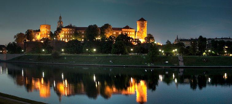 King, Castle, Cracow, Night-photo, Panorama, Historic