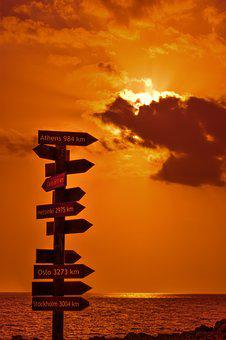 Signposts, Signs, Distance From, Sunset, Orange, Sea