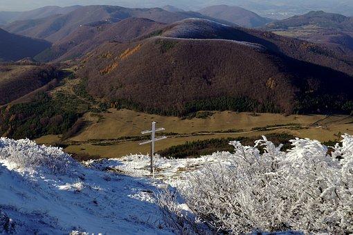 Cross, Mountains, Strážov, Snow, Autumn, Country