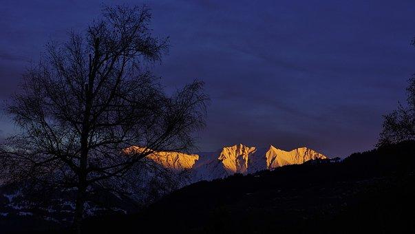Glowing Mountain, Alpine, Surselva, Landscape, Nature
