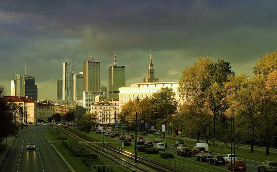 Warsaw, The Centre Of, Skyscrapers, Avenue Independence