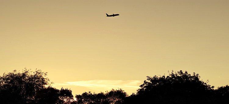The Plane, Evening Sky, Evening, West, Twilight, Mood