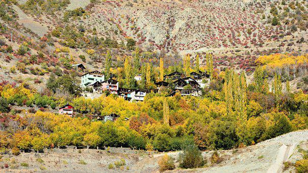 Village, Slope, Valley, Canyon, Autumn, Season, Nature