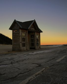 Phone Booth, Austria, Wine Level, Sunset, Rustic, Road