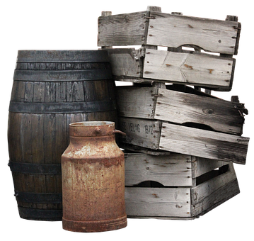 Boxes, Wooden Boxes, Barrel, Pot, Milk Can, Old