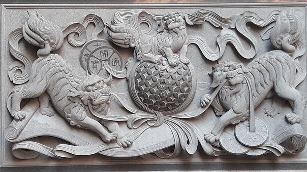 Carving, 廟-woo, Tradition, The Three Lions Get The Ball