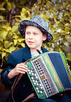 Baby, Accordion Player, Boy, Kids, Child, Childhood