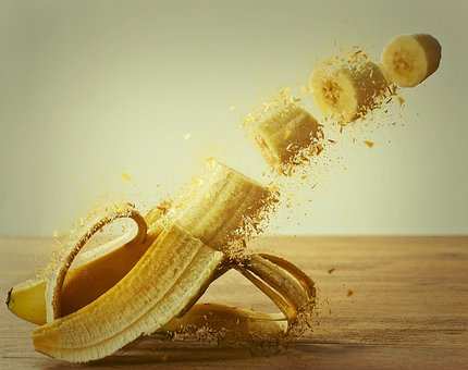 Banana, Banana Peel, Photo Montage, Yellow, Explosion