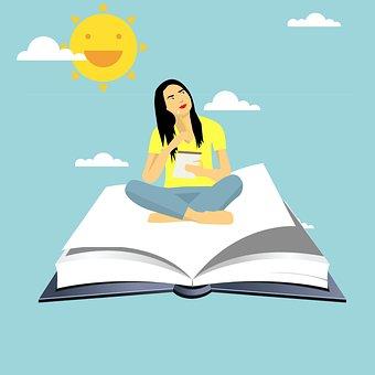 Girl Flying On Book, Cartoon Character, Idea, Thinking