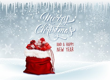 Christmas, Gifts, Red, White, Christmas Card