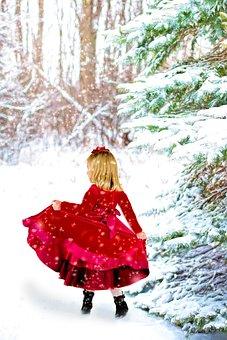 Christmas, Little Girl, Red Dress, Winter, Snow, Snowy